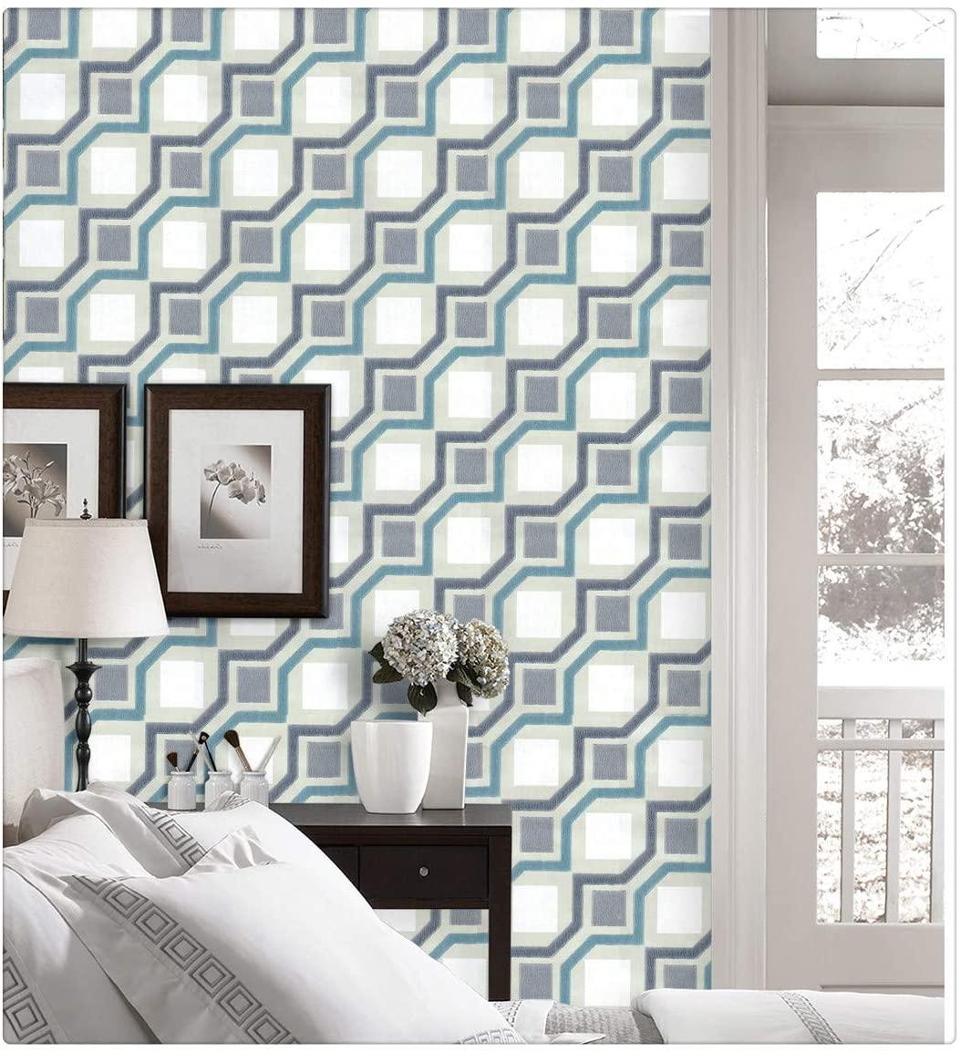 DWIND D1335-1 Vinyl 3D Contemporary Self Adhesive Wallpaper Geometric Stripes Peel & Stick Wallpaper Colourful Square for Livingroom Bedroom