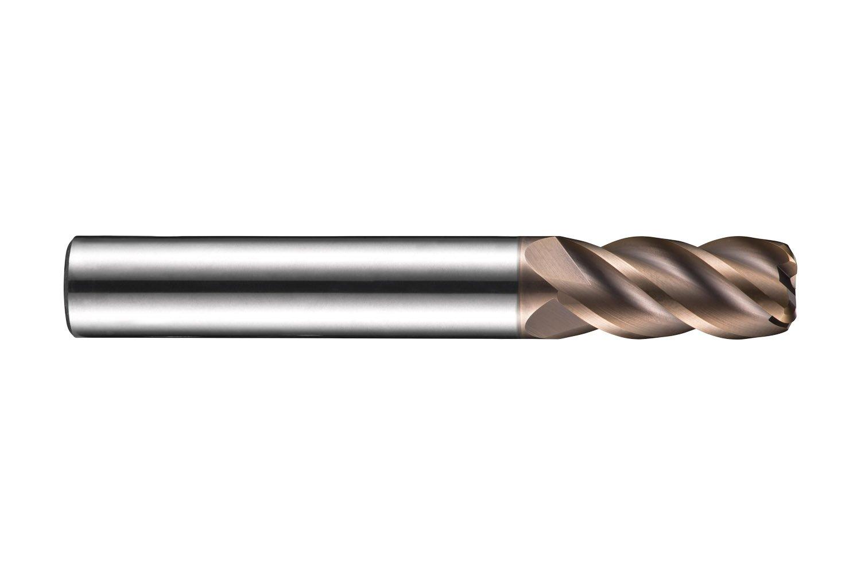 Dormer S5233.0XR0.3XD3 Shank Corner Radius End Mill, TiSiN Coating, HM, R 0.3 mm, 3 mm Head Diameter, 9 mm Flute Length, 40 mm Full Length