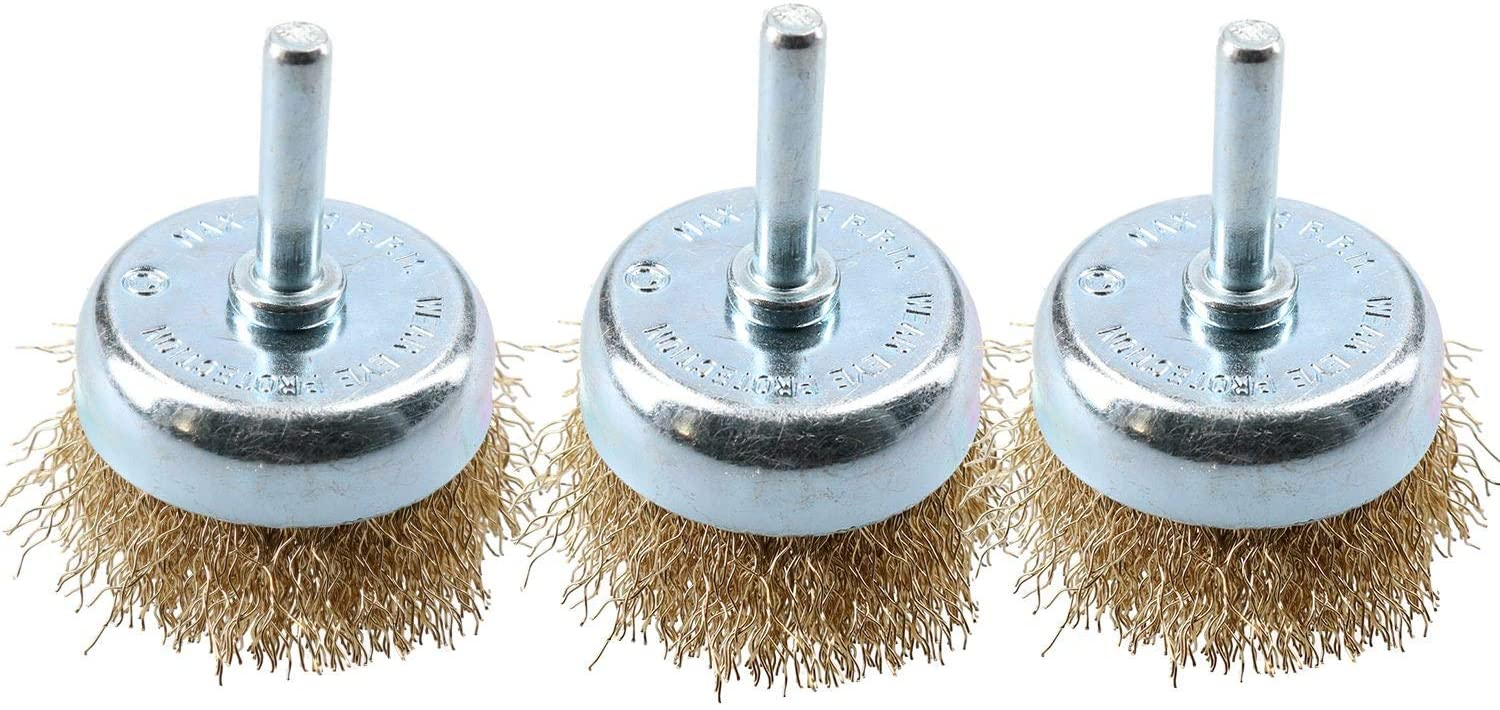 3 Pack 50mm Steel Wire Cup Brush For Drills Brass Coated Rust Paint Remover