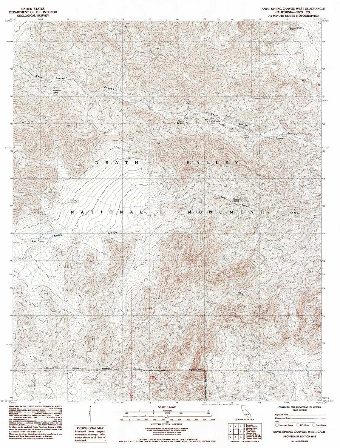 Map Print - Anvil Spring Canyon West, California (1985), 1:24000 Scale - 24