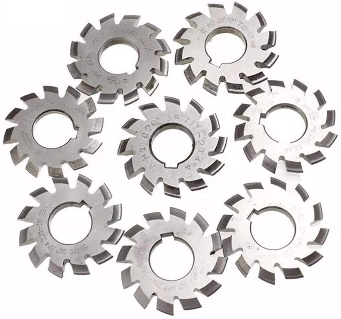W-SHTAO Saw Blade Circular Saw Blades, 8pcs Diameter 22mm Module 2 20degree #1-8 M2 HSS Involute Gear Milling Cutter Electrical Tools