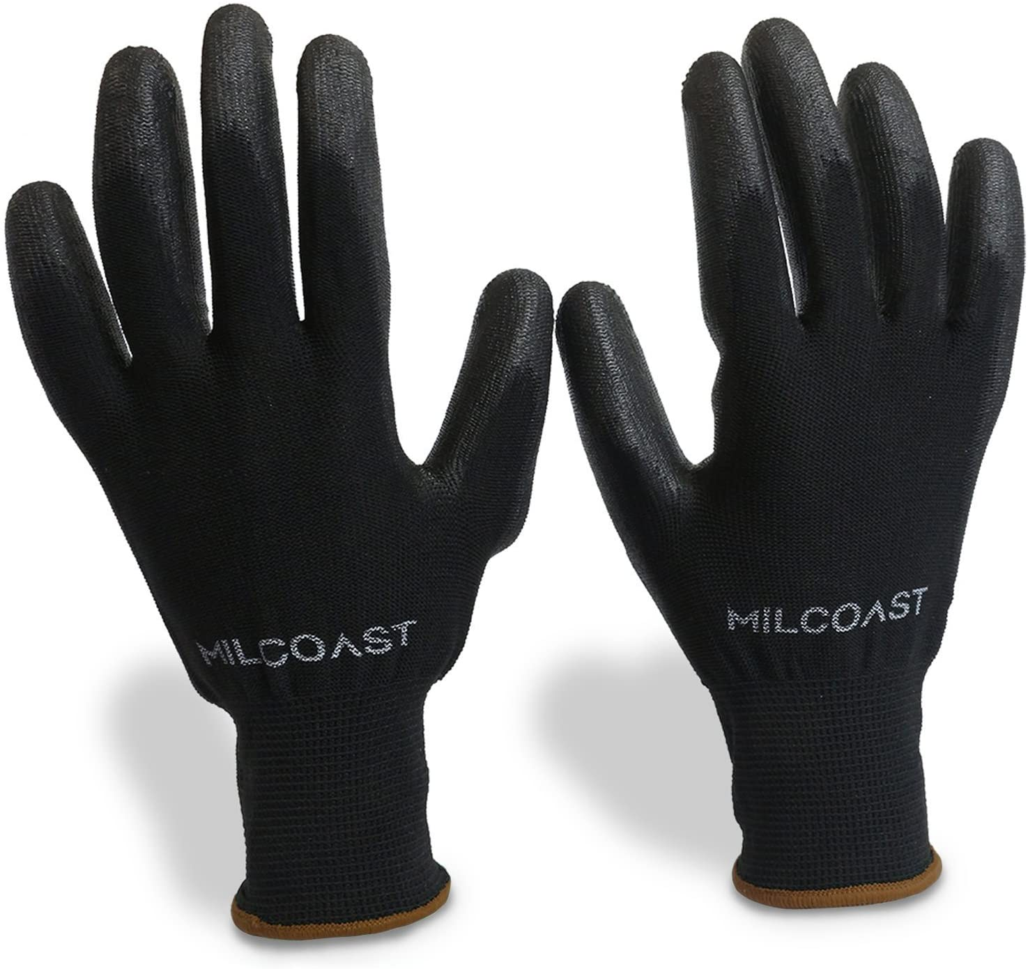 Milcoast Breathable Ultra-Thin Flexible Gloves Polyurethane Palm Coated for Work and Handling - Pack of 20 Pairs (Large)