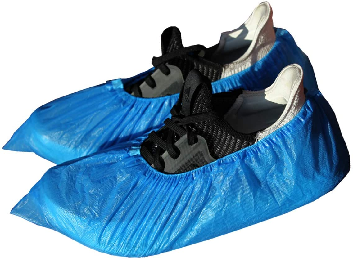 XTW Shoe Covers Disposable -100 Pack(50 Pairs) Premium Thick Disposable Shoe & Boot Covers Waterproof Slip Resistant Non Slip Durable, One Size Fits All (Blue)