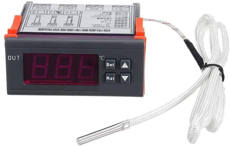 Bin Zhang DC12V/DC24V/AC220 Digital Thermostat Temperature Controller High Temperature Alarm K Input -30~999 (Size : DC24)