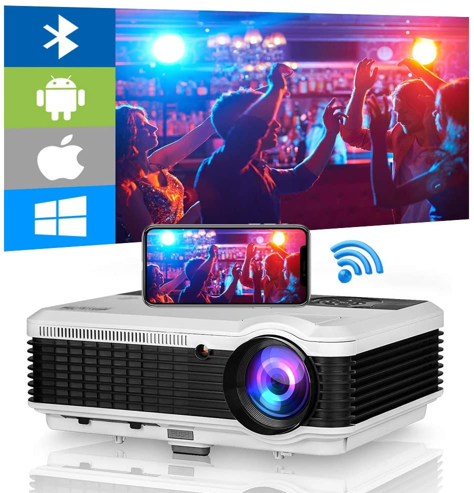 Bluetooth WiFi Projector,4600 Lumen 150 Inch Display Outdoor Movie Projector Support Wireless Airplay Zoom 4D Keystone Correction,HDMI Projector for Home Theater TV USB Stick DVD PS4 Laptop