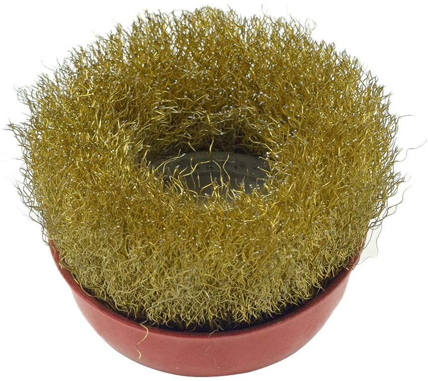 TOUHIA M14x100mm Heavy-Duty Brass Plated Steel Wire Cup Brush for Polishing Cleaning
