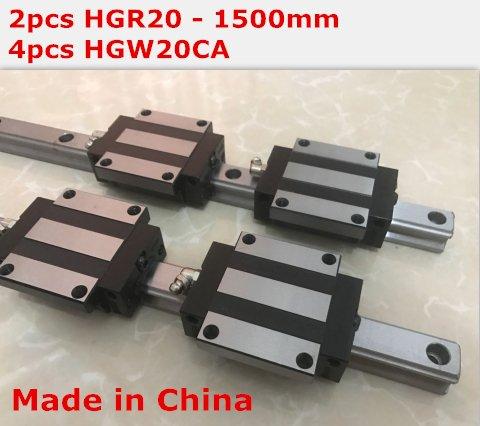 HiShangRC linear rail cnc parts 2pcs HGR20 - 1500mm + 4pcs HGW20CA linear block carriage