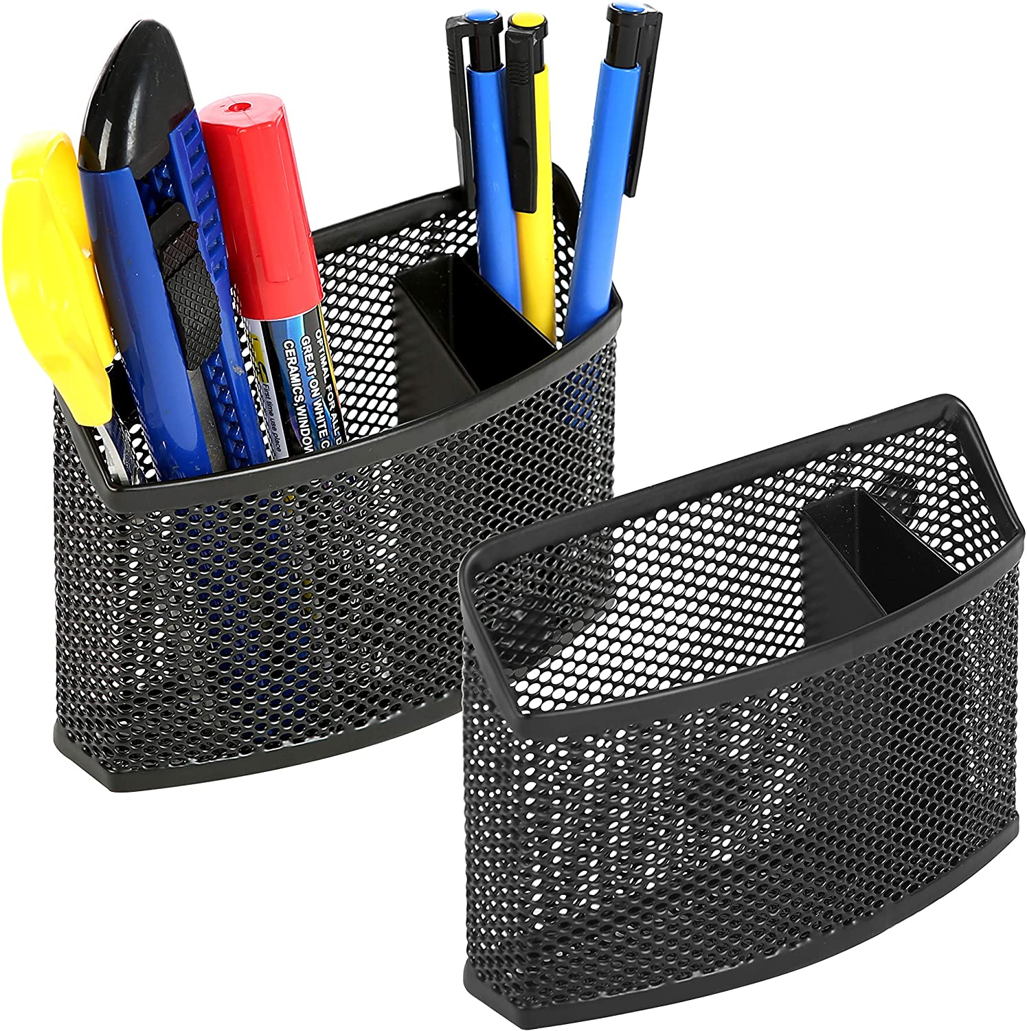 MyGift Set of 2 Magnetic Black Metal Mesh Office Supply Stationary Organizer Bin/Pen Pencil Holder with 3 Compartments