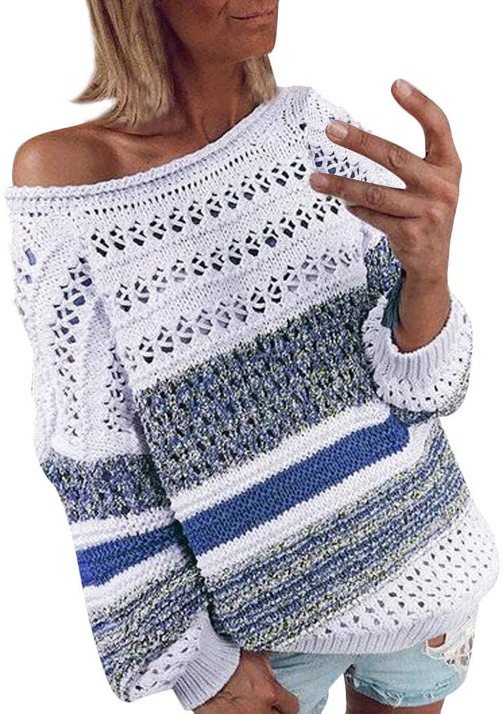 Lataw Women Sweaters Tops Fashion Stripe Knitted O-Neck Hollow Out Plus Size Soft Long Sleeve Pullover Blouse Costume Cothing