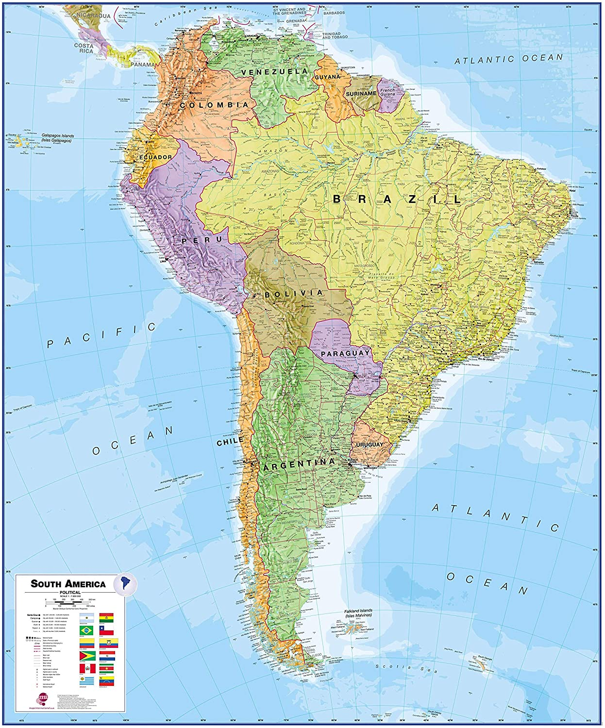Maps International Large Political South America Wall Map - Laminated - 47 x 39