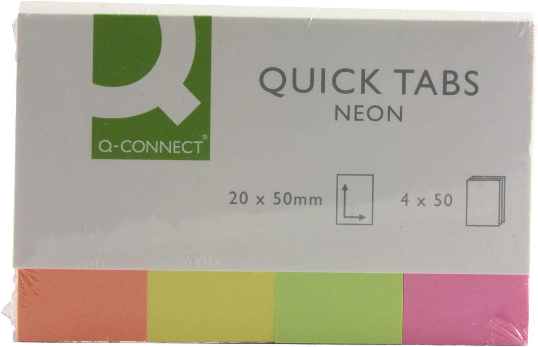 Q CONNECT QUICK TABS 20X50 NEON PK160