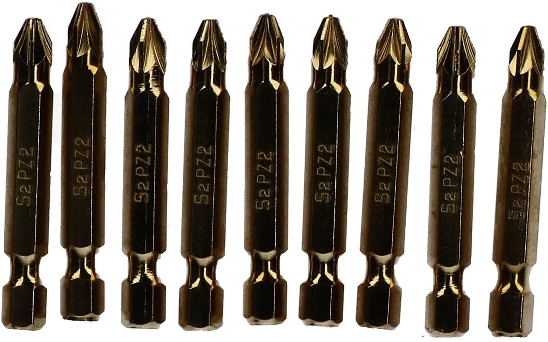 10pc Power PZ2 Screwdriver 50mm Titanium Coated S2 Bit Set Pozi 1/4