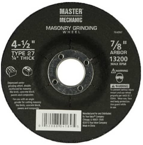 Master Mechanic 764897 Masonry Grinding Wheel, 4-1/2