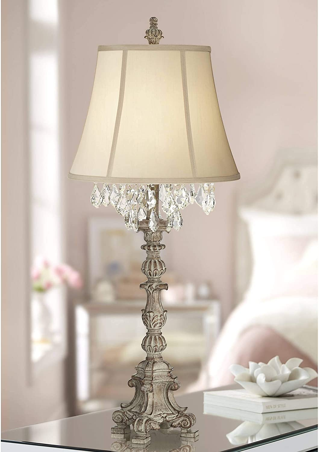 Duval Cottage Table Lamp Crystal Antique White Candlestick Beige Bell Shade for Living Room Family Bedroom Bedside - Barnes and Ivy