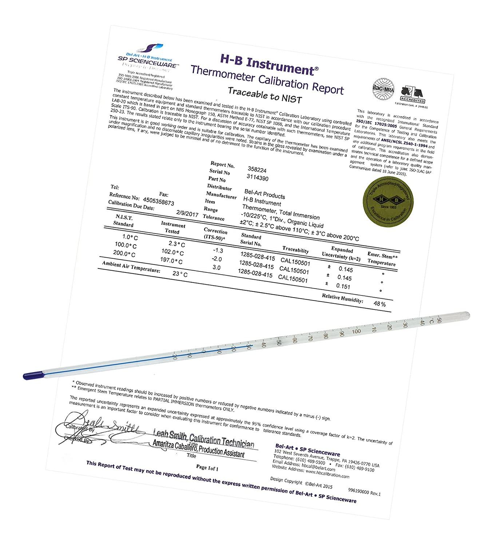H-B DURAC Plus ASTM S63C-03 Individually Calibrated Liquid-in-Glass Laboratory Thermometer; -8/32C, Organic Liquid Fill (B60780-0200)