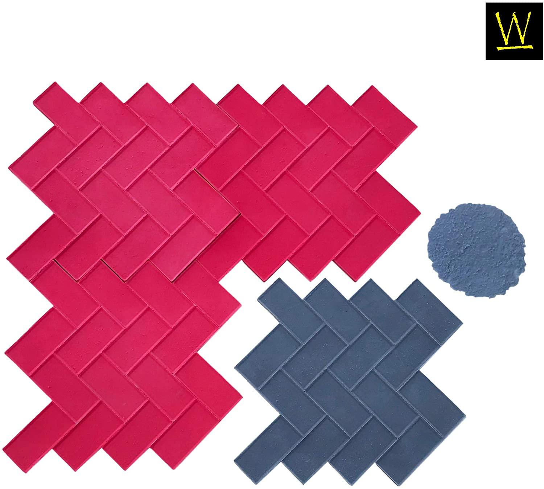 Walttools Herringbone Paver Concrete Stamp Set Classic Weaving Brick Pattern, Sturdy Polyurethane Texturing Mats, Decorative Realistic Detail (11 Piece)