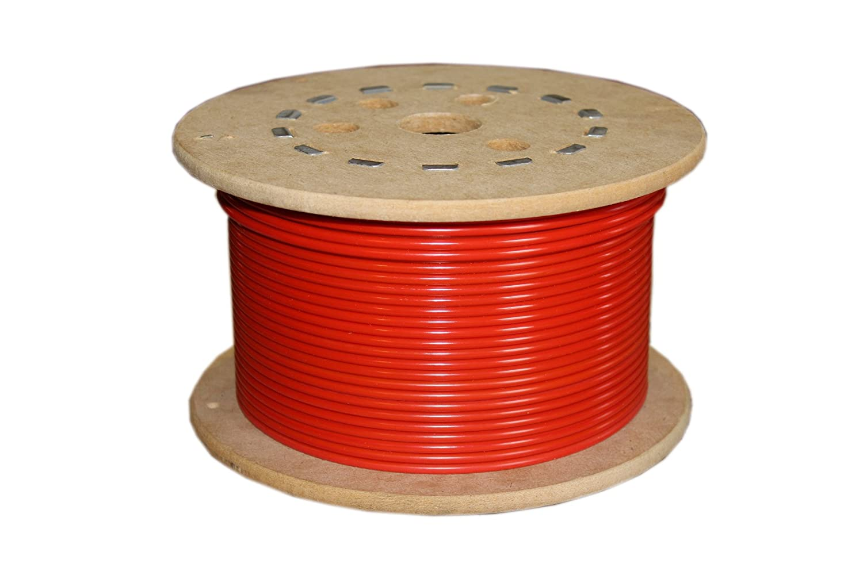 Loos Galvanized Steel Wire Rope, Nylon Coated, 7x7 Strand Core, Orange, 3/32