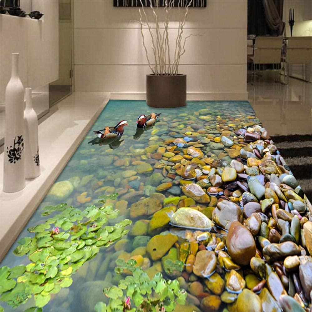 Custom 3D Floor Wallpaper Bathroom Kitchen 3D Pvc Floor Mural Self-Adhesive Thickened Wallpaper Waterproof Mandarin Duck Bathing 140x100cm