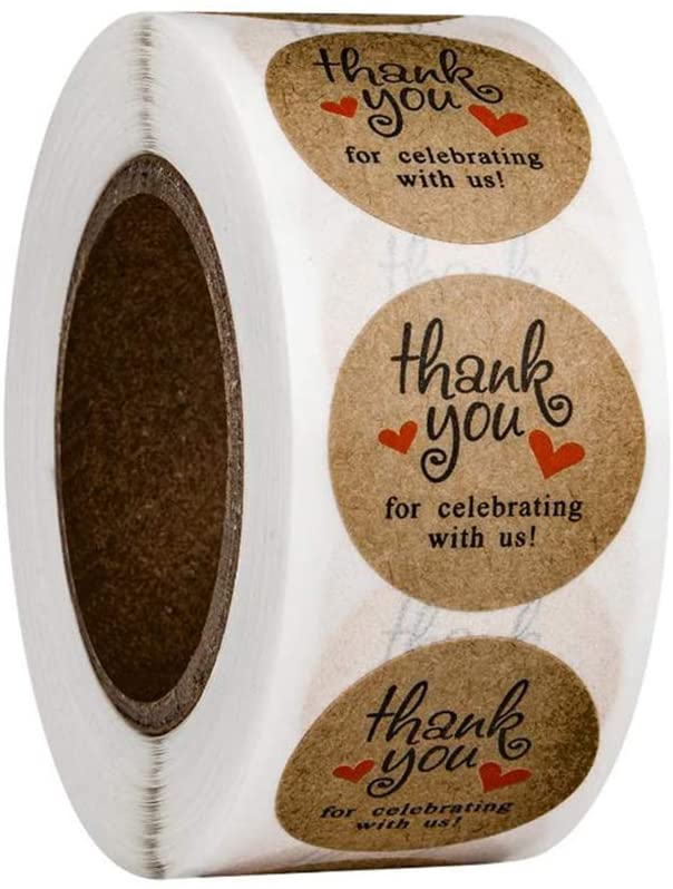 1 Roll(500PCS) 1inch Round Thank You for Celebrating with Us Sticker Adhesive Kraft Paper Circle Labels Tag DIY Decorative Sealing Sticker Paster for Wedding Party Christmas Festival
