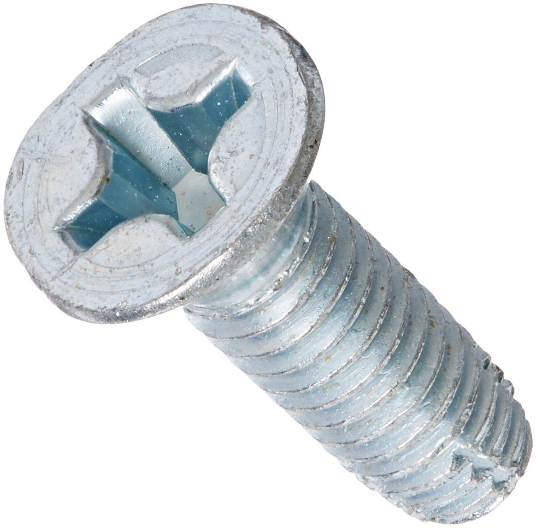 Steel Thread Cutting Screw, Zinc Plated, 82 Degree Flat Head, Phillips Drive, Type F, 5/16