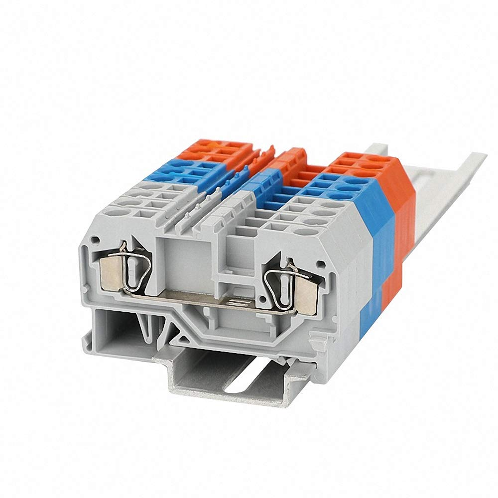 Terminal Block 281-901 Connector DIN Rail Mount Spring Cage Connection Wire Conductor 2 Conductor Through 10pcs