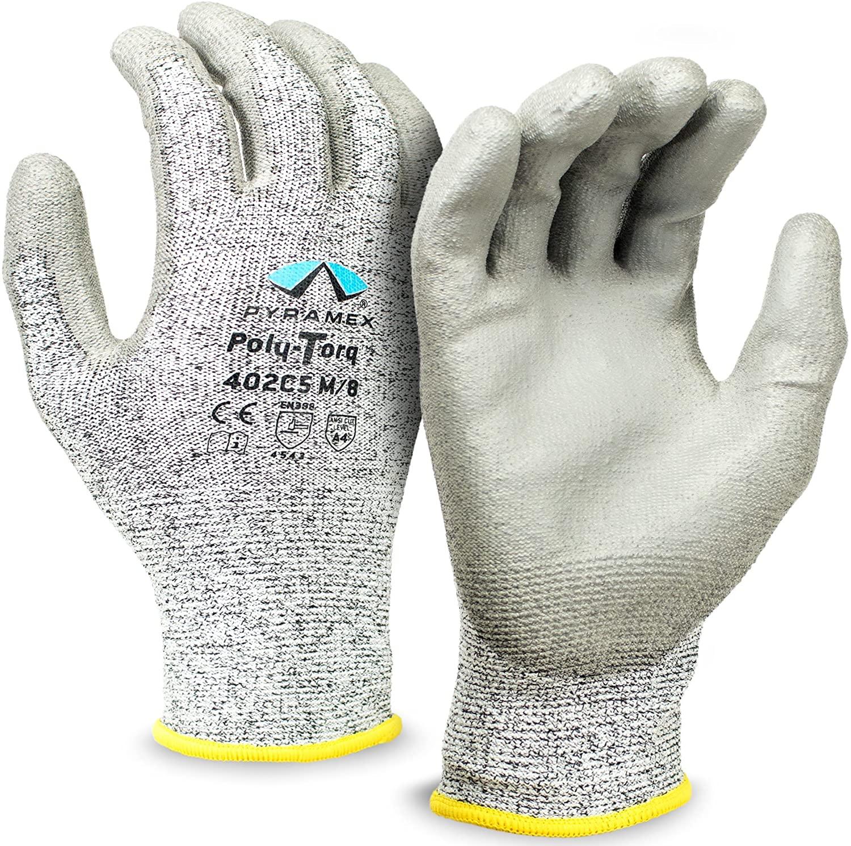 Pyramex Safety GL402C5M Poly-Torq Polyurethane Work Gloves, Medium