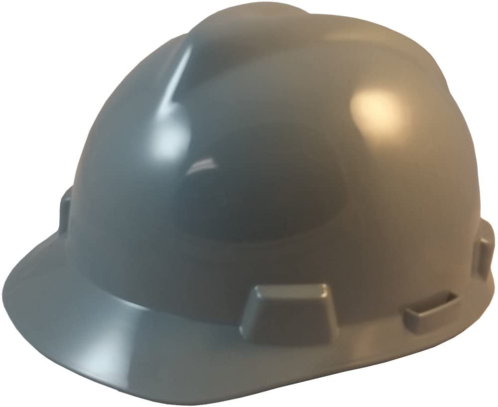 MSA V-Gard Cap Style Hard Hats w/FasTrac III Suspensions and Handy Tote Bag - Gray