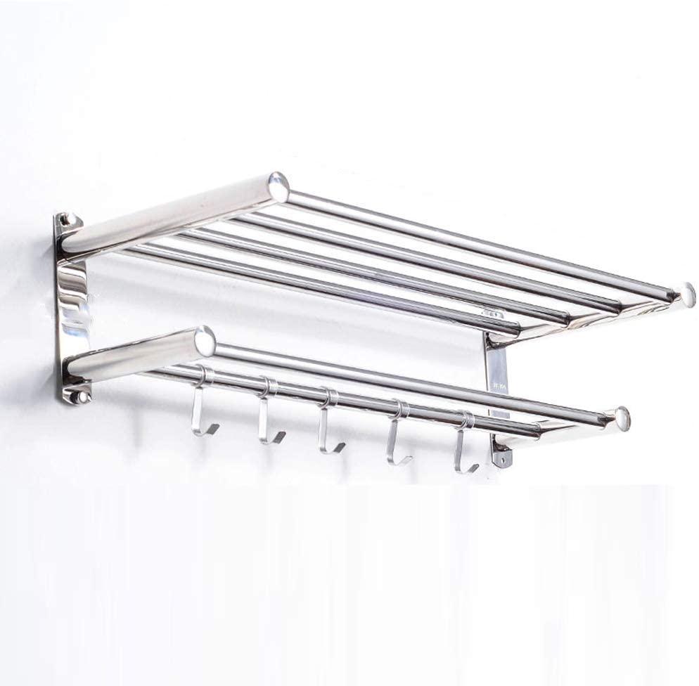 Home Storage Accessories Towel Rack Toilet Towel Bar Shelf Bathroom Toilet Wall Hanging Stainless Steel Double Layer Towel Rack Thickening Standard, BOSS LV, 60cm