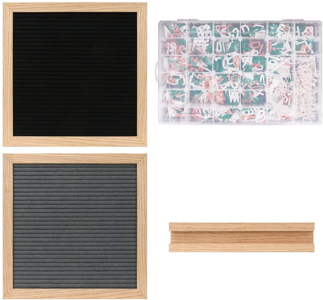 Letter Board with Letters and Numbers,697 PRE-Cut Characters (3/4 Inch,in 3 Colors) with Sorting Tray,Felt Letter Board with Stand 10&10 Inches - Black and Gray