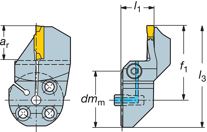 Sandvik Coromant 570-32L123F15B068B Steel CoroCut 41641 Head for Face Grooving Holder, 0.59