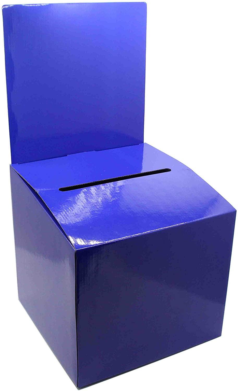FixtureDisplays Set of 7 Cardboard Ballot Box with Removable Header, Slanted Top - Blue 119614-7PK