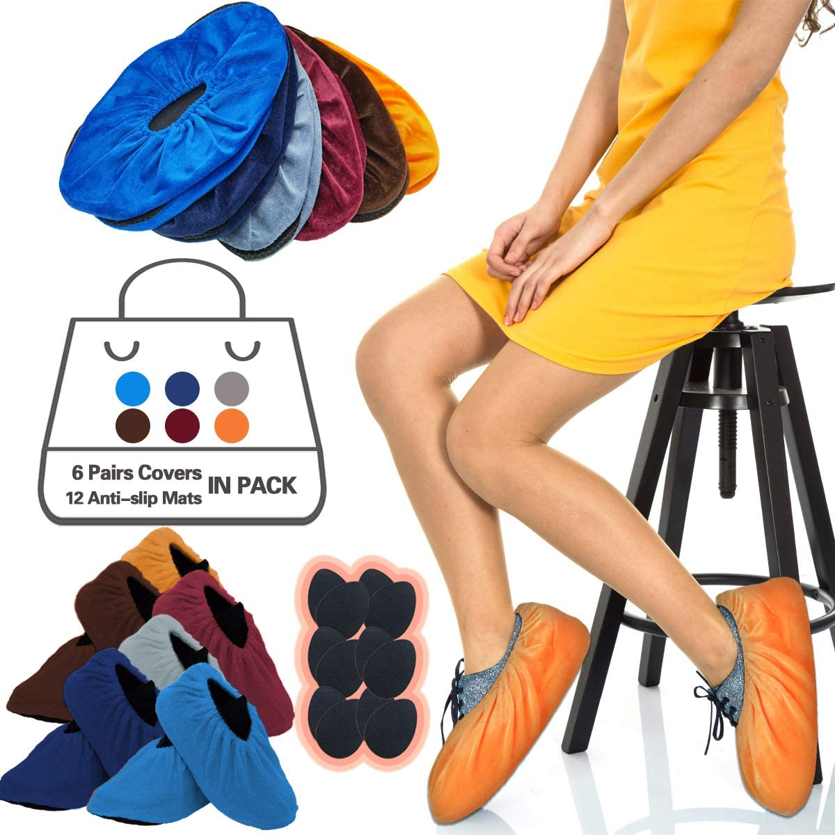 6 Pairs Shoe Covers Washable Reusable Non Slip,Shoe Protectors Covers,Durable Boot & Shoes Cover For Construction Workplace Carpet,One Size Fits Most.With Foot Bottom Anti-slip Mat(6-14 US size)