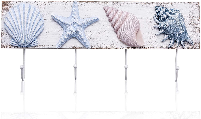 TideAndTales Beach Decor Seashell Wall Hooks Towel Rack for Bathroom, Bedroom or Kitchen | Beach Bathroom Decor | Coastal Theme Beach House Decor