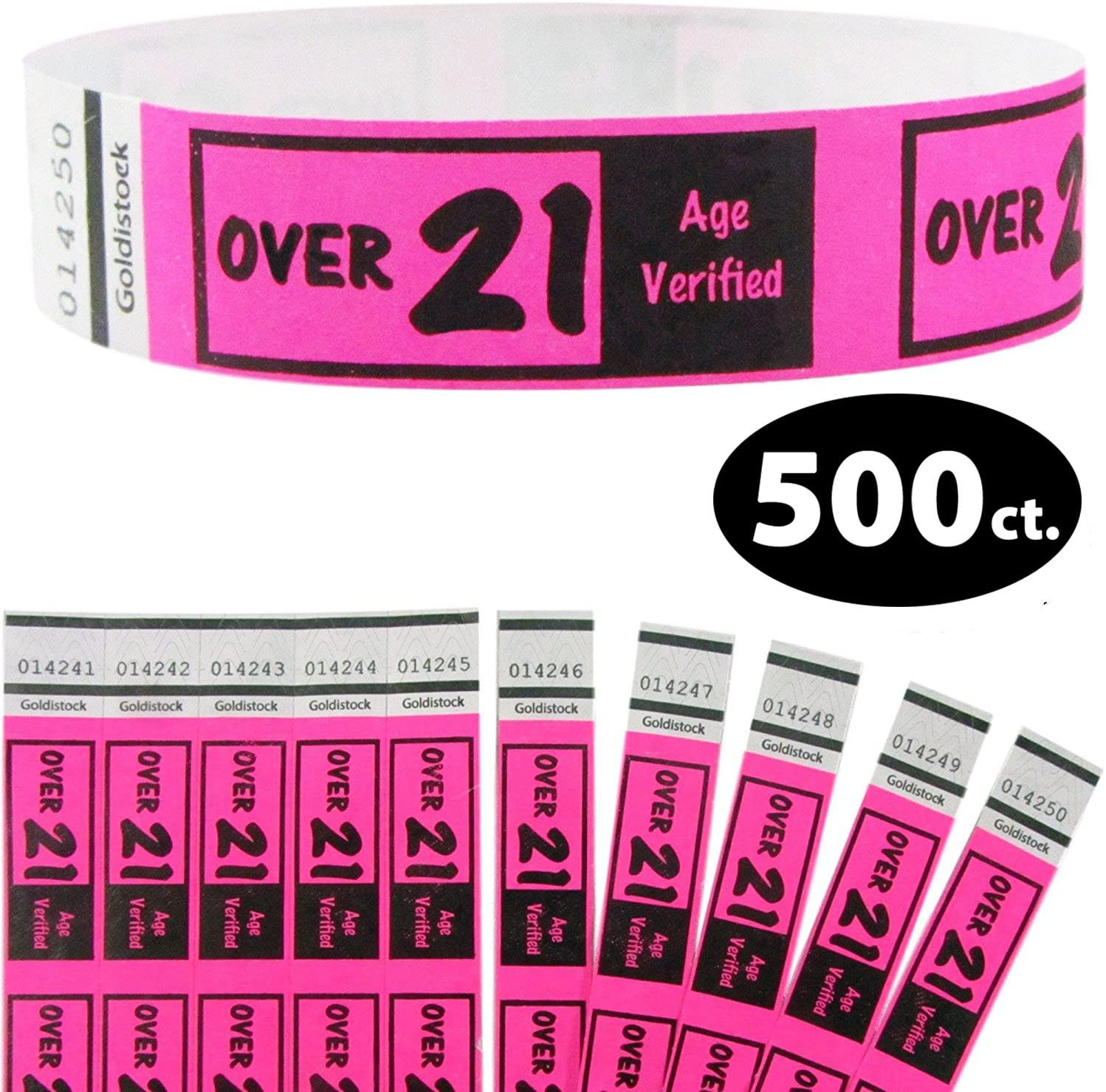 """Heavier Tyvek Wristbands 7.5 Mil - Goldistock Over 21 Neon Pink 500 Ct. – ¾"""" Arm Bands- Extra Durable Tyvek Wrist Bands for Easy Drinking Age Identification"""