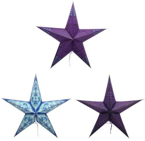 Decorative Christmas Festive Embroidery Ecofriendly Paper Star Lanterns Set of 3