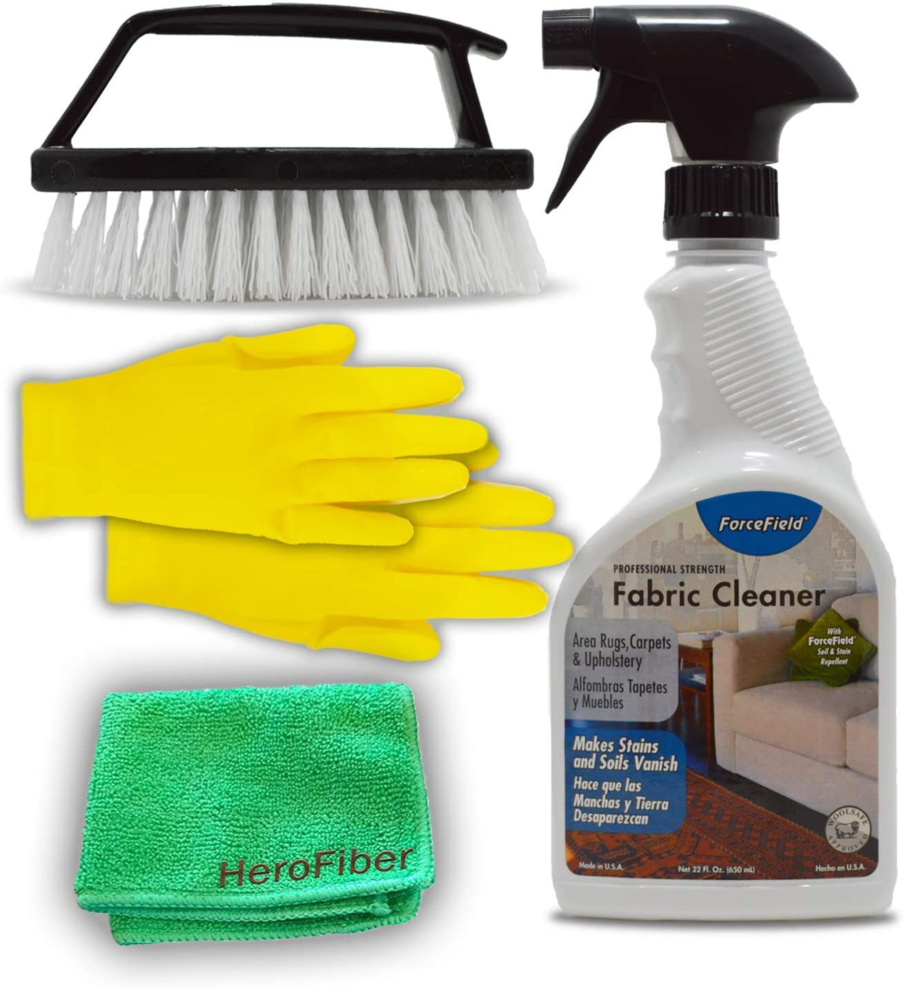 ForceField Fabric Cleaner Kit: 22 Oz Professional Strength Force Field Carpet and Upholstery Cleaning Spray, Handheld Scrub Brush with Handle Detailing, Microfiber Cloth, Yellow Rubber Gloves.