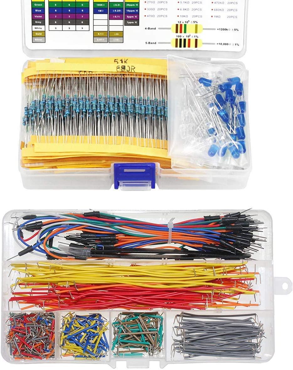 WayinTop Preformed Breadboard Jumper Wires Kit + 5mm LEDs & Resistor Assortment Kit