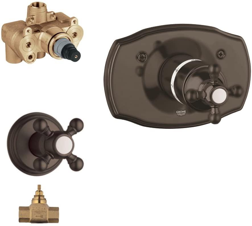 Grohe K19615-34124RV4-ZB0 Geneva Tub and Shower Valve Kit, Oil Rubbed Bronze