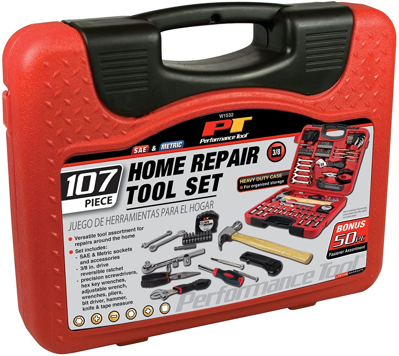 Performance Tool W1532 SAE/Metric 107 Piece Home & Auto Tool Set
