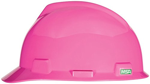 MSA 10155230 V-Gard Slotted Hard Hat, Cap Style, with 4-Point Fas-Trac III Suspension, Standard, Hot+D39:D62 Pink