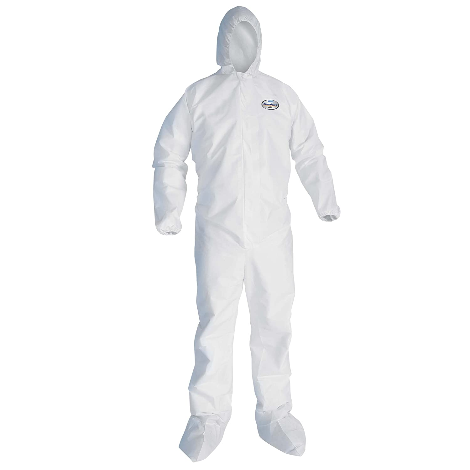 Kleenguard A45 Liquid & Particle Surface Prep & Paint Protection Coveralls (41513), Hood, Boots, EWA, Reflex Design, Zip Front, White, Small, 25 / Case