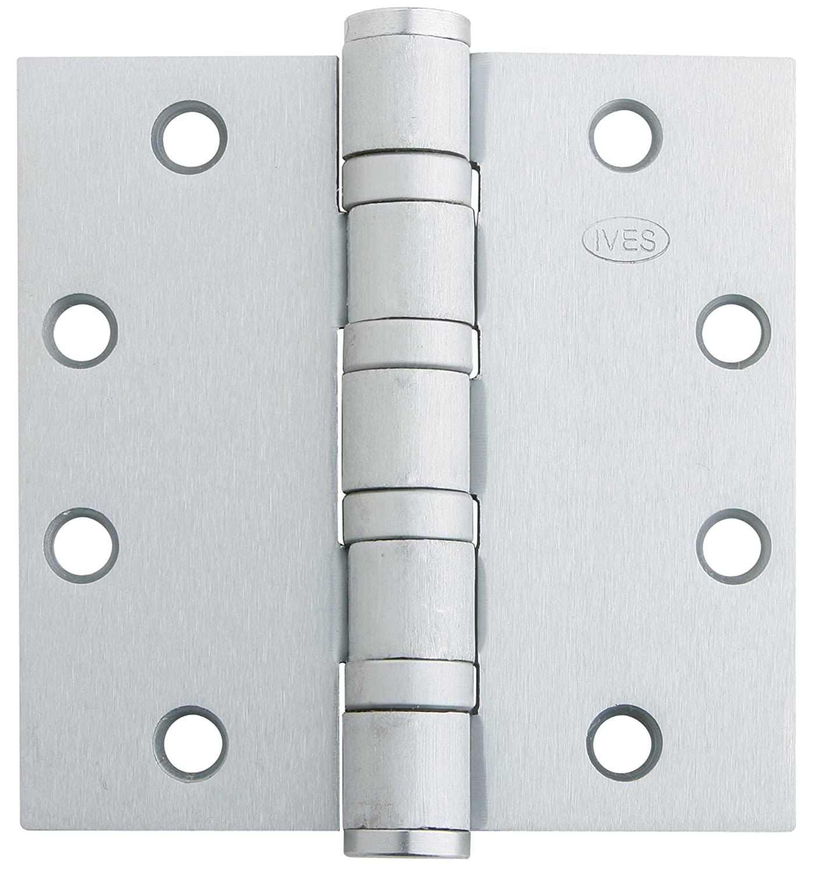 Ives 5BB1-HW 4.5 X 4.5 US32D Ball Bearing Heavy Weight Full Mortise Hinge, Stainless Steel Finish, 4.5