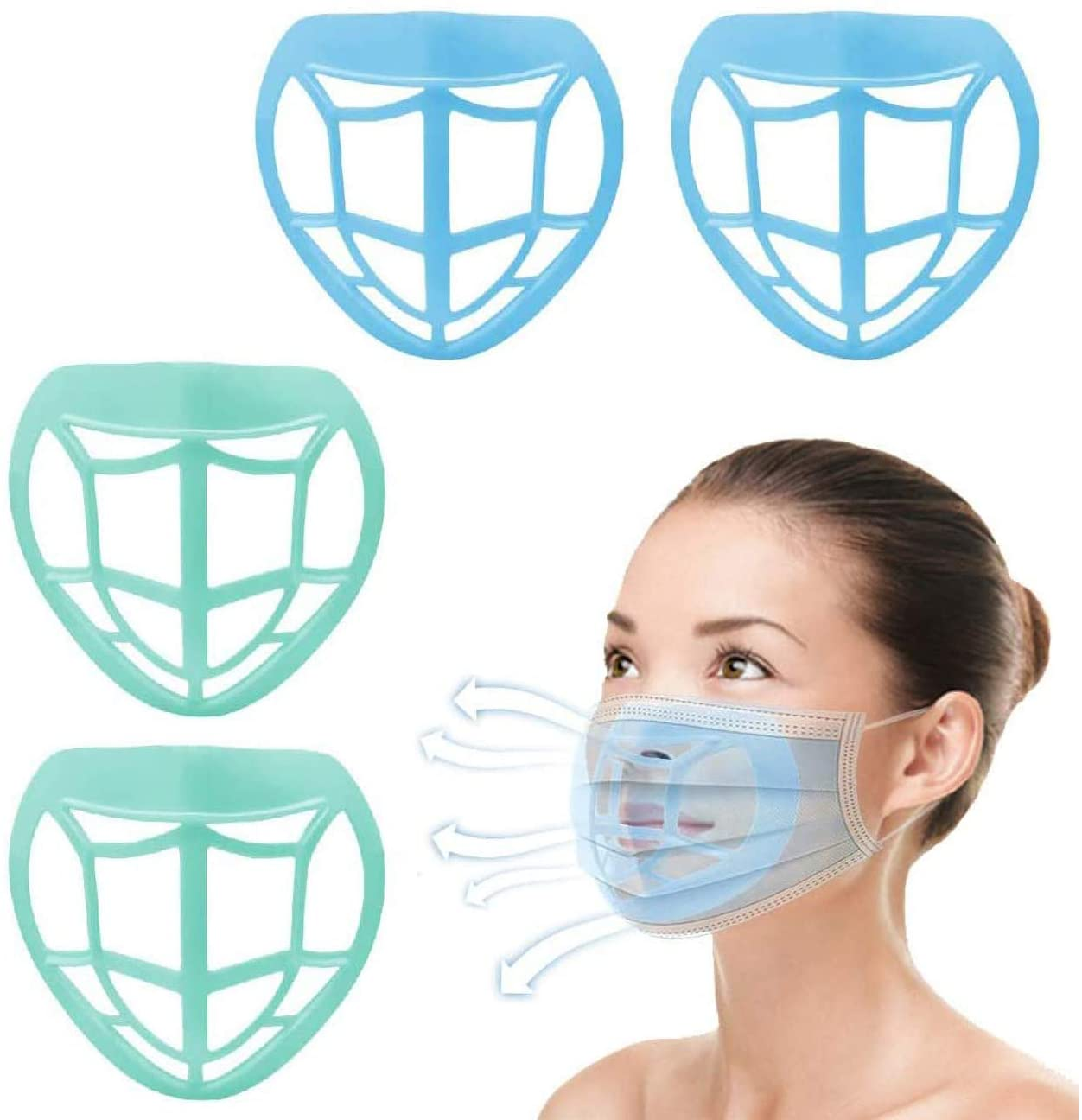 ZHOPPA Cool Mas-k Bracket - Inner Support Frame - Nose Pads - Prevent Makeup Removal - Protect Lipstick - Enhance Breathing Space - Helps to Breathing Comfortably Washable Reusable (4, Mixed color)