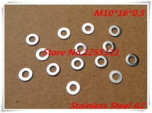 Ochoos 100pcs/lot M10 x 16 x 0.5 10mm Stainless Steel A2 Flat Washer Thickness 0.5mm