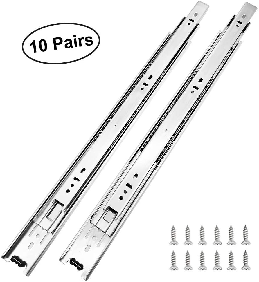 10 Pairs of 20 Inch Hardware 3-Section Full Extension Ball Bearing Side Mount Drawer Slides,100 LB Capacity Drawer Slide