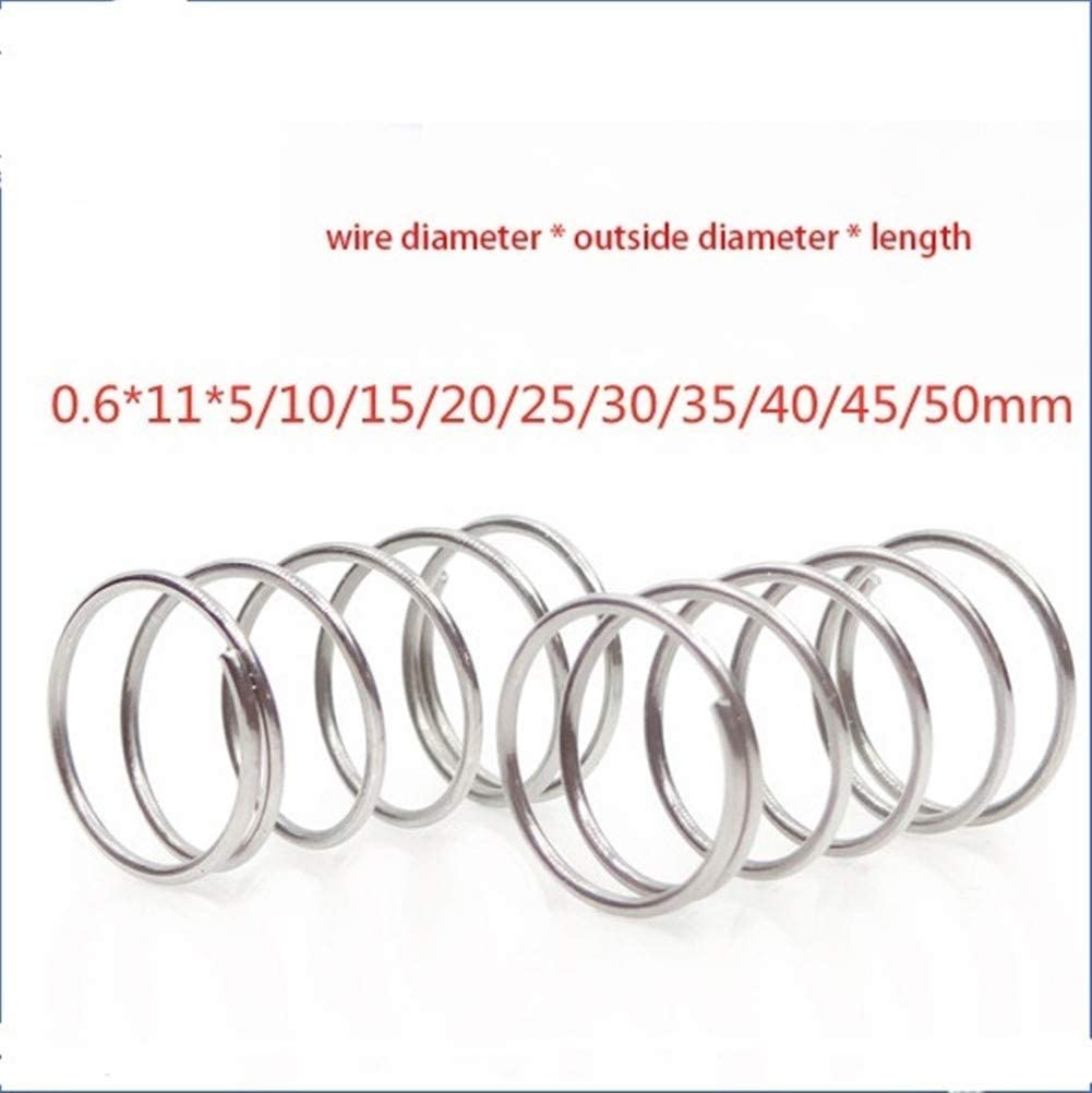 DINGGUANGHE-CUP Extension Springs 10pcs 304 Spring Pressure Spring Short Compression Stainless Steel Spring Wire Diameter 0.6 Outside Diameter 11 Length 5-50 Multipurpose (Size : 0.6X11X25mm)