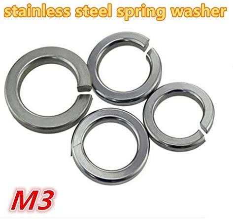 Ochoos 1000pcs m3 304 Stainless Steel a2-70 Spring Washer/Gasket Split Lock Washer/Shim Elastic Washer