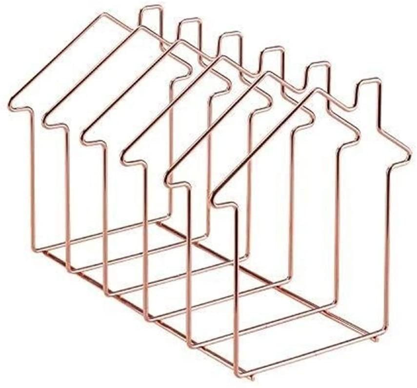 YUXO Magazine Holder Book Stand 5 Slot Desk Organizer Rack for Document Folder Letter and Book House Shape