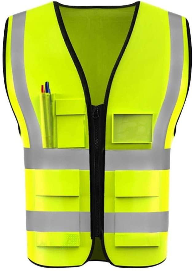 Safety Vest Safety Vest, Reflective Vest Night Travel Safety High Visibility Vest Lightweight Breathable Multi-Pocket Overalls Child Safety Vest (Color : Fluorescent Yellow, Size : XXL)