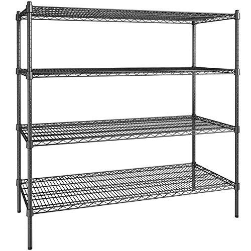 24 inch x 54 inch Certified Black Epoxy 4 Shelf Kit with 54 inch Posts. Storage Shelf. Garage Storage Shelves. Shelving Units and Storage. Food Storage Shelf. Storage Rack. Bakers Racks